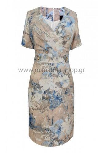 Φόρεμα εμπριμέ ίντιγκο