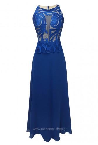 Φόρεμα μάξι με παρτούς ώμους