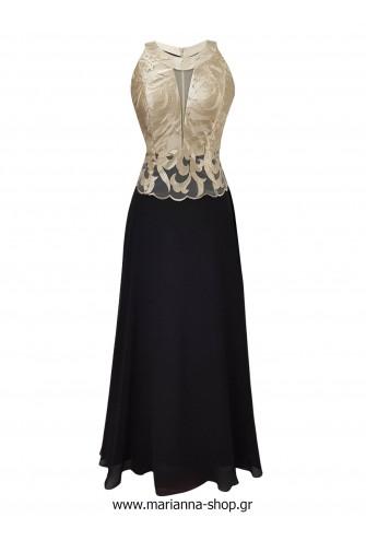 Φόρεμα μάξι με παρτούς ώμους χρυσο