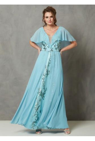 Φόρεμα μάξι δαντέλα πετρόλ