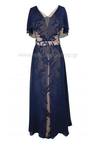 Φόρεμα μάξι δαντέλα μπλε-ροζ