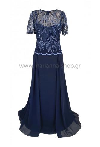 Φόρεμα μάξι μπλε με κοντά μανίκια