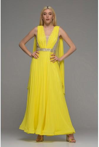 Εντυπωσιακό κίτρινο μαξι φόρεμα