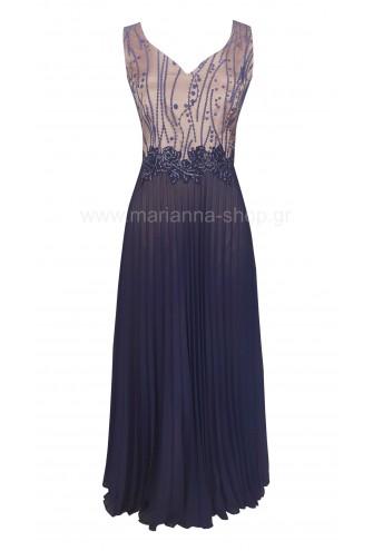 Φόρεμα μάξι πλισέ μπλε