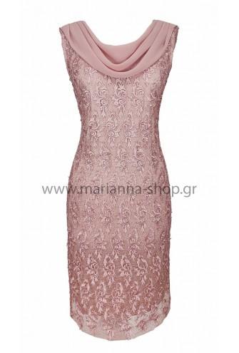 Φόρεμα δαντέλα ροζ
