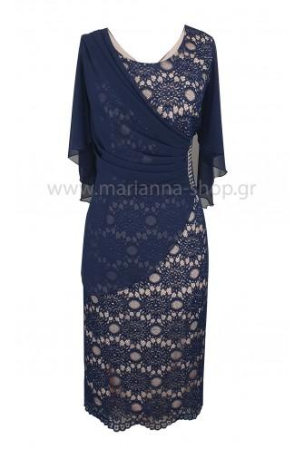 Φόρεμα δαντέλα μπλε ροζ