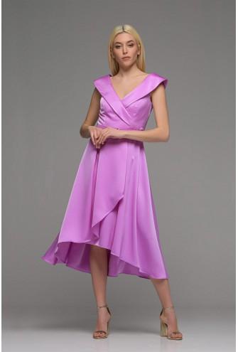 Φόρεμα άνισο σατέν λιλά