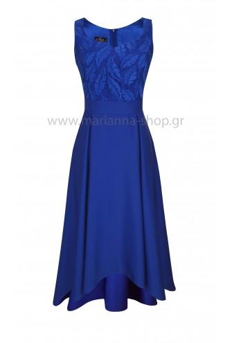 Κοκτέιλ φόρεμα σατέν μπλε ρουά