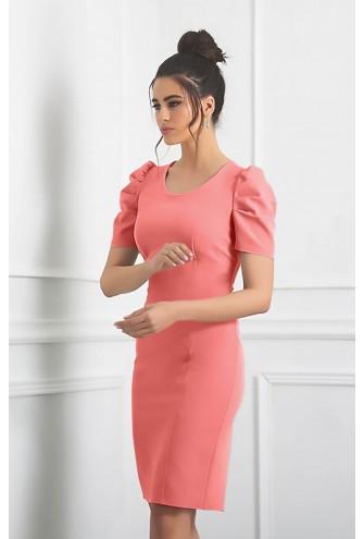 Φόρεμα κοραλί με ιδιαίτερο μανίκι