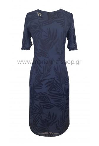 Φόρεμα κλασικό μπλε ντεβορέ
