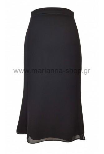 Φούστα ζορζέτα μαύρη