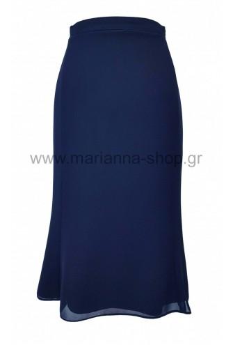 Φούστα ζορζέτα μπλε