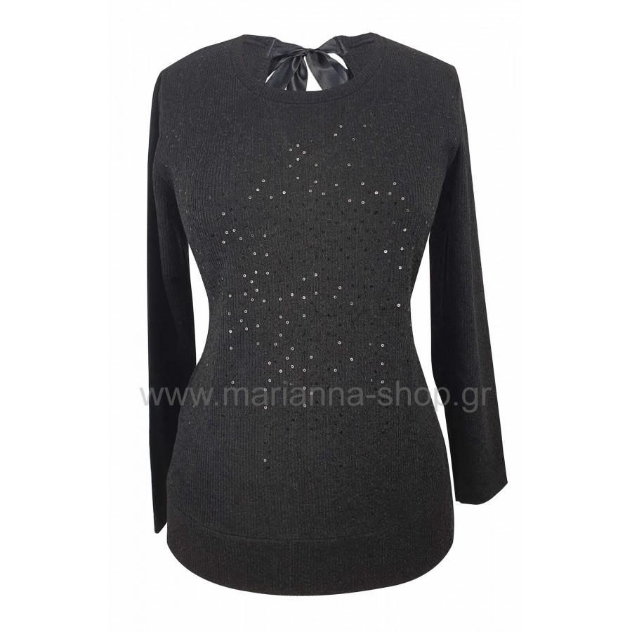 Μπλούζα μοντέρνα μαύρη με κορδέλα