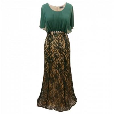 Φόρεμα μάξι δαντέλα με μουσελίνα