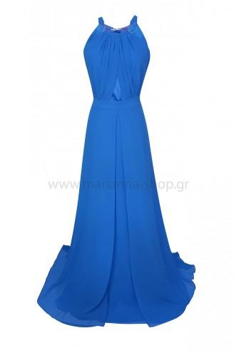 Φόρεμα μαξι μπλε ρουα με παρτούς ώμους