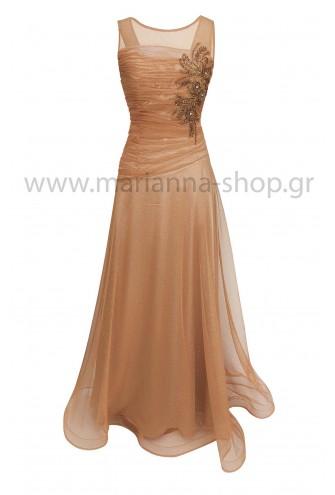 Φόρεμα μπεζ-χρυσό γκλίτερ