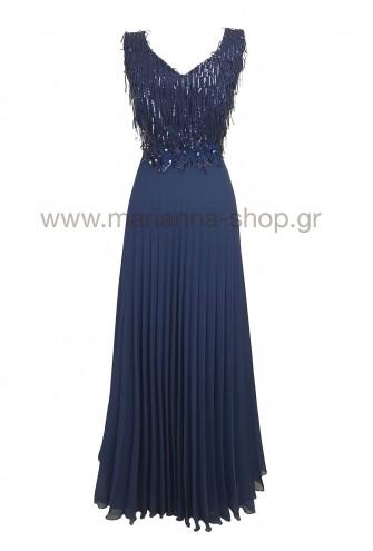 Φόρεμα κεντημένο πλισέ