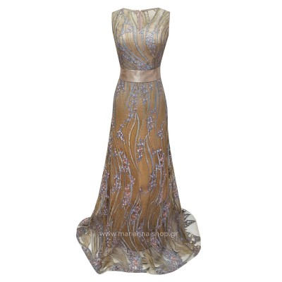 Φόρεμα μάξι μπέζ χρυσό