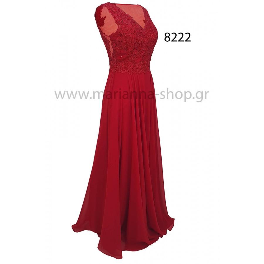 Φόρεμα κόκκινο με διαφάνεια