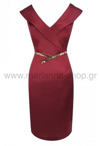 Φόρεμα κοκτέιλ σατέν μπορντό