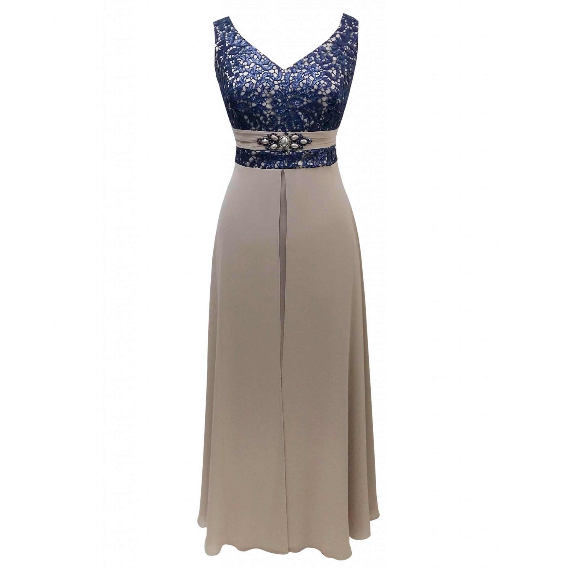 13d5871f7e1b Φόρεμα μάξι μουσελίνα και δαντέλα