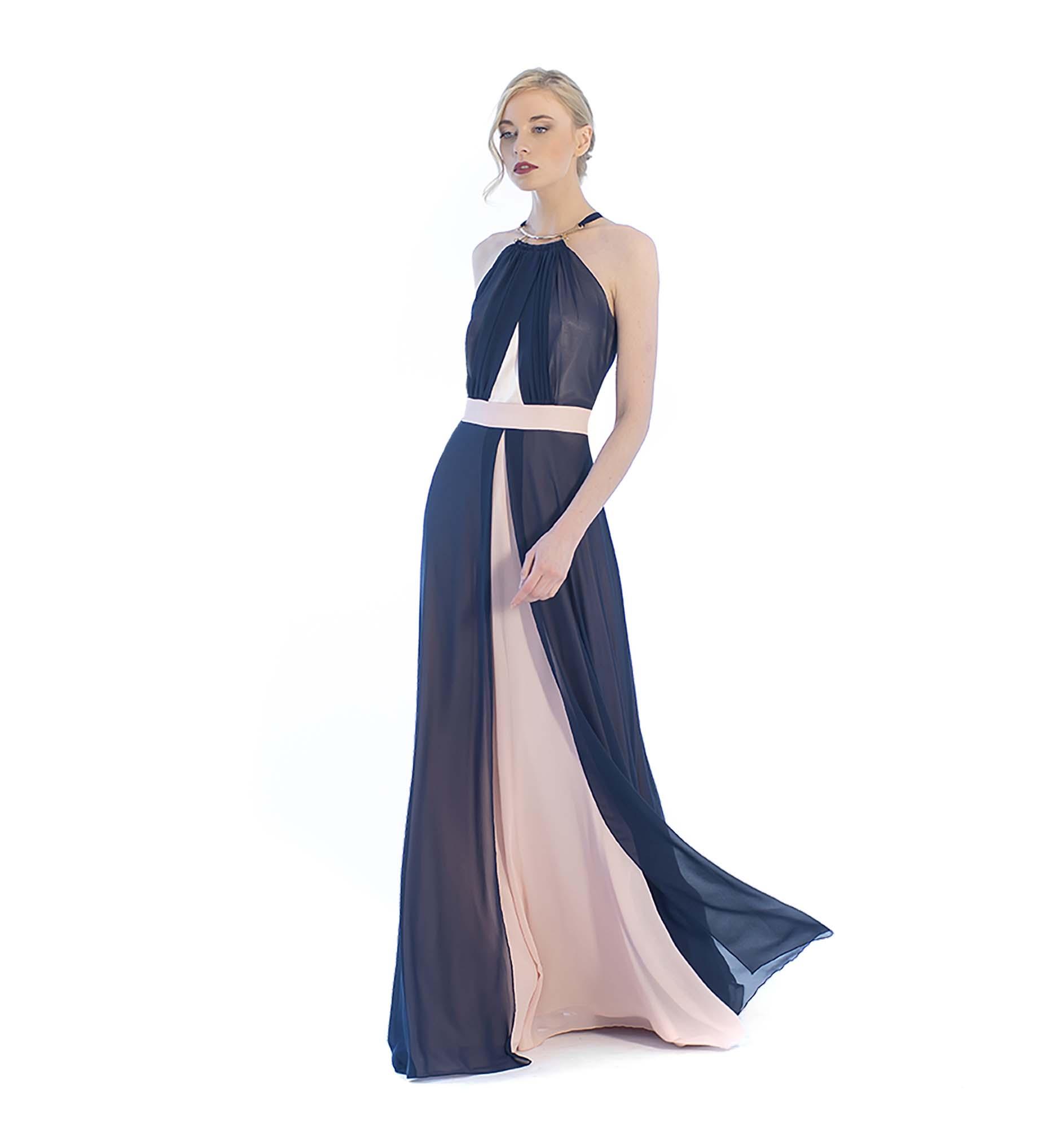 cf510cfe7319 Φόρεμα μάξι δίχρωμο